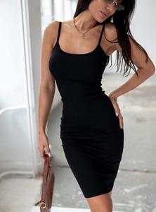 Czarna sukienka SELFIEROOM z okrągłym dekoltem na ramiączkach mini