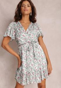 Miętowa sukienka Renee z dekoltem w kształcie litery v z krótkim rękawem trapezowa