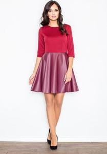 182b7ca5dd Różowa sukienka Figl z długim rękawem z okrągłym dekoltem w stylu casual