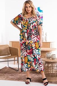 Sukienka KARKO w stylu boho z tkaniny dla puszystych