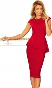 Czerwona sukienka NUMOCO dla puszystych z krótkim rękawem