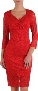 Czerwona sukienka POLSKA kopertowa z długim rękawem
