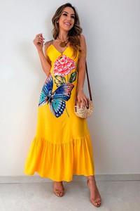 Sukienka Ivet.pl na ramiączkach maxi z dekoltem w kształcie litery v