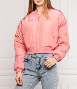 Różowa kurtka Pepe Jeans w stylu casual krótka