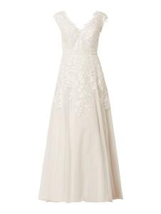 Sukienka Luxuar rozkloszowana z tiulu z dekoltem w kształcie litery v