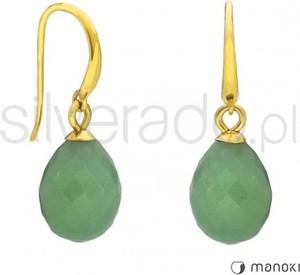 Silverado złote kolczyki z zielonymi, fasetowanymi amazonitami 77-ka071gz
