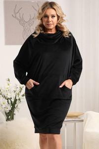 Czarna sukienka KARKO w stylu casual z długim rękawem oversize