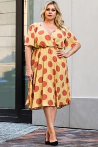 Sukienka KARKO dla puszystych z okrągłym dekoltem w stylu casual