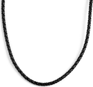 Trendhim Czarny naszyjnik z plecionej skóry 3 mm