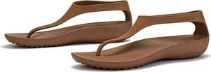Brązowe sandały Crocs z płaską podeszwą