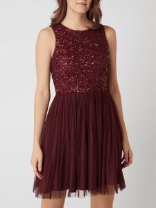 Czerwona sukienka Lace & Beads z okrągłym dekoltem bez rękawów z tiulu