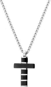 Manoki WA480 czarno srebrny krzyżyk ze stali szlachetnej