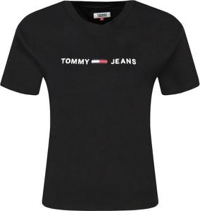 Czarny t-shirt Tommy Jeans z okrągłym dekoltem