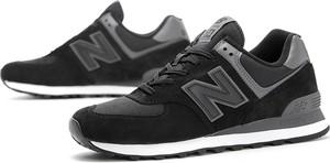 Czarne buty sportowe New Balance 574 sznurowane ze skóry
