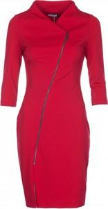 Czerwona sukienka VISSAVI z dekoltem w kształcie litery v mini z długim rękawem