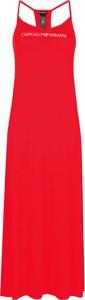 Czerwona sukienka Emporio Armani z okrągłym dekoltem na ramiączkach w stylu casual