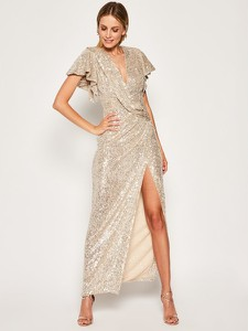 Sukienka Babylon z krótkim rękawem z dekoltem w kształcie litery v