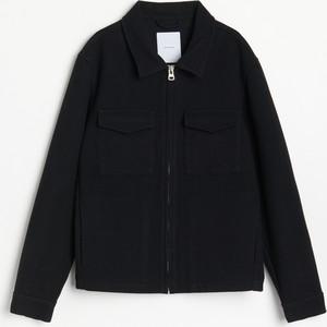 Czarna kurtka Reserved w stylu casual z wełny krótka