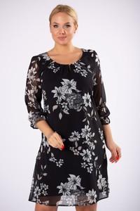 Czarna sukienka Moda Dla Ciebie z długim rękawem z okrągłym dekoltem