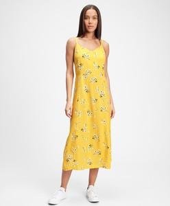 Żółta sukienka Gap z dekoltem w kształcie litery v midi