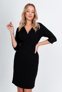 Czarna sukienka ZOiO.pl w stylu casual z długim rękawem