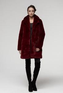 Czerwony płaszcz Smoke w stylu casual ze skóry ekologicznej