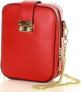 Czerwona torebka GENUINE LEATHER na ramię ze skóry w stylu glamour