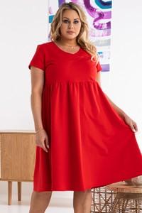 Czerwona sukienka KARKO z bawełny dla puszystych z krótkim rękawem