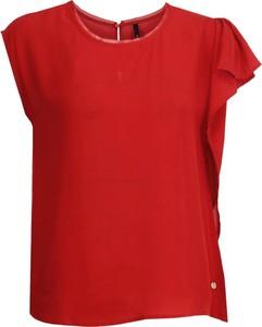 Czerwona bluzka Pepe Jeans z okrągłym dekoltem z krótkim rękawem
