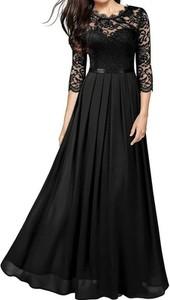 Czarna sukienka Arilook z okrągłym dekoltem
