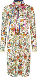 Sukienka Tory Burch z żabotem z jedwabiu mini