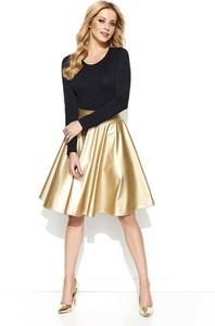 Złota spódnica Makadamia midi w stylu glamour