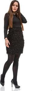 Czarna sukienka Szachownica z okrągłym dekoltem w stylu casual