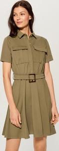 Sukienka Mohito mini koszulowa w militarnym stylu