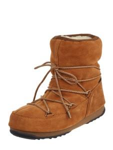 Brązowe śniegowce Moon Boot ze skóry w stylu casual