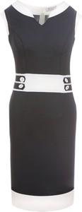 Czarna sukienka Fokus dopasowana w stylu glamour