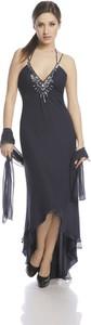 Czarna sukienka Fokus z jedwabiu z dekoltem w kształcie litery v asymetryczna