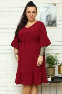 Czerwona sukienka KARKO z długim rękawem z tkaniny z dekoltem w kształcie litery v