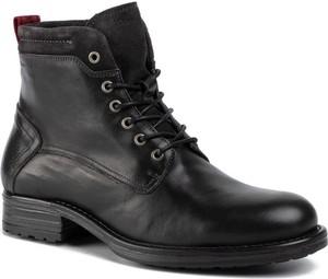 Czarne buty zimowe Marc O'Polo ze skóry