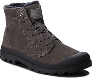 Brązowe buty zimowe Palladium w stylu casual z nubuku sznurowane