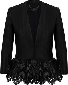 Czarna kurtka Elisabetta Franchi krótka ze skóry