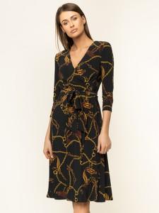 Sukienka Ralph Lauren z dekoltem w kształcie litery v kopertowa z długim rękawem