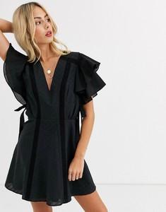 Czarna sukienka Stevie May z dekoltem w kształcie litery v z bawełny