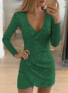 Zielona sukienka Sandbella z długim rękawem z dekoltem w kształcie litery v mini