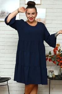 Granatowa sukienka KARKO z długim rękawem