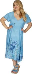 Niebieska sukienka Aller Simplement z krótkim rękawem z dekoltem w kształcie litery v