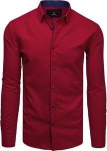 Czerwona koszula Dstreet z długim rękawem z klasycznym kołnierzykiem z bawełny