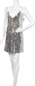 Srebrna sukienka Nlw mini z dekoltem w kształcie litery v