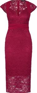 Czerwona sukienka Tfnc z krótkim rękawem prosta z dekoltem w kształcie litery v