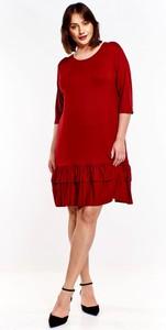 Sukienka Omnido.pl z długim rękawem z okrągłym dekoltem